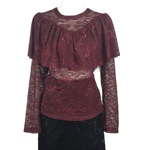 Nwt Sheer Long Sleeve Lace Ruffle Top